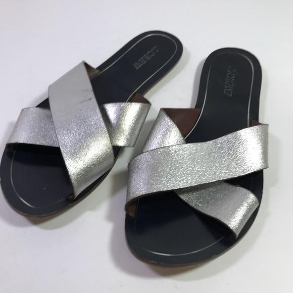 470ecbc51 J. Crew Shoes - J.Crew Cyprus Metallic Silver Leather Sandals sz 9